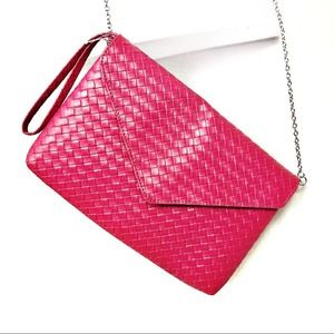 Pink Woven Crossbody Purse with Silver Chain NWOT